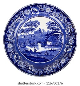 Very old dutch plate isolated on a white background