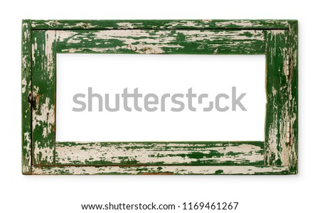 Very old empty wooden frame, painted green, isolated on white