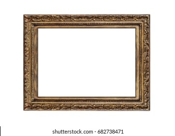 Very old golden frame isolated on white background.