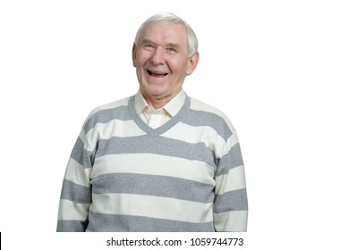 Very old grandfather laughing out loud. Portrait of senior caucasian man in striped sweater in white isolated background.