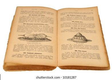Very old hungarian recipe book (published 1894), isolated on white.