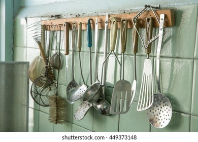 very old kitchen utensils of various kinds