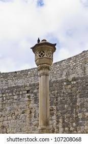 Very old medieval style pillar in Dubrovnik. Dubrovnik - UNESCO World Heritage Site. Croatia, Europe.