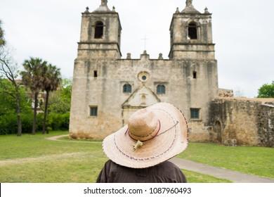 Very old Mission Concepcion or Conception in San Antonio Texas.