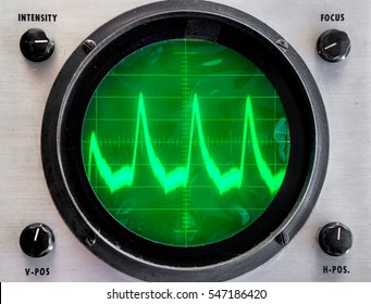 Very old oscilloscope. Round face is green plastic film that is not even, somewhat dirty. Fuzzy trace on display shows peaks. Controls in each corner.  Focus on grid in center.