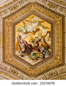 Very old painting on the ceiling of a room of the museum in Vatican City