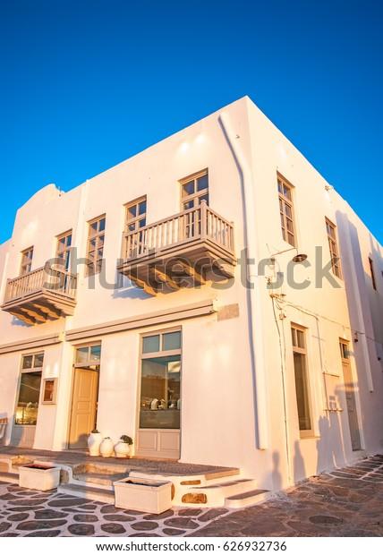 Very old pictorial building in Mykonos town in Mykonos island in Greece