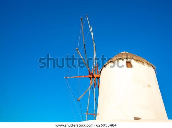 Very old pictorial windmill in Mykonos town in Mykonos island in Greece