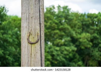 Very old and rusting horseshoe seen nailed to a wooden telegraph pole in an outdoor location, near a livery yard.
