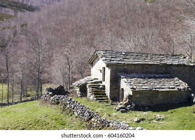 Very old stone cabin in autumn forest, in the region of Merindades in Burgos, Castile and Leon, Spain.