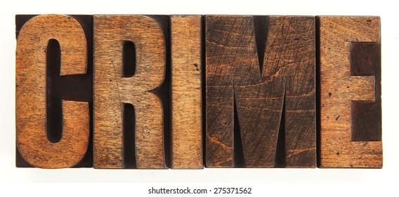 Very Old Vintage Letterpress Letters Spelling Out CRIME