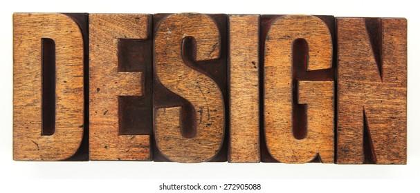 Very Old Vintage Letterpress Spelling Out DESIGN