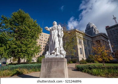 Very old and vintage statue of Louis XVI in downtown Louisville Kentucky USA