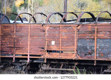 very old weathered rusty railway waggon lost in time