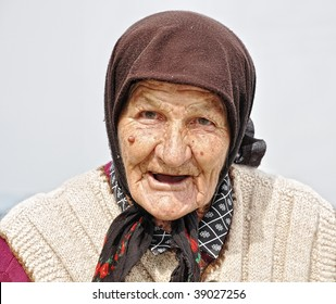 Very old woman with expression on her face