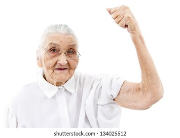 very old woman showing her muscles on her arms