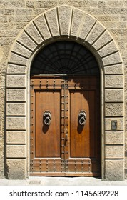 Very old wooden door placed as an entrance in medieval home