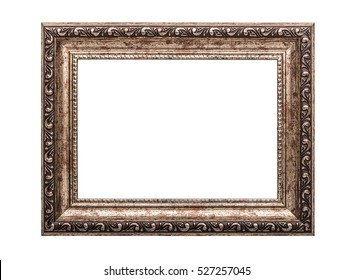 Very old wooden frame. Isolated on white background.