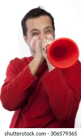 Very passionate red team supporter with a red vuvuzela from South Africa.
