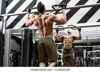 very power guy - bodybuilder, execute exercise with weight, inside gym, photo