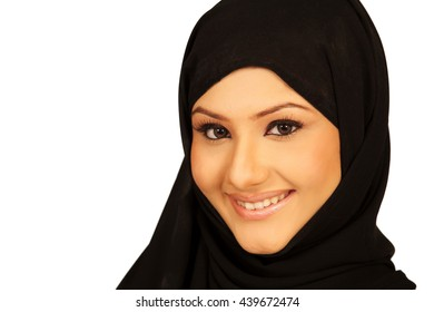 very pretty muslim girl with a big smile