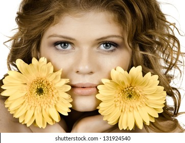 the very  pretty red-haired young woman  with yellow flowe, horizontal close up portrait