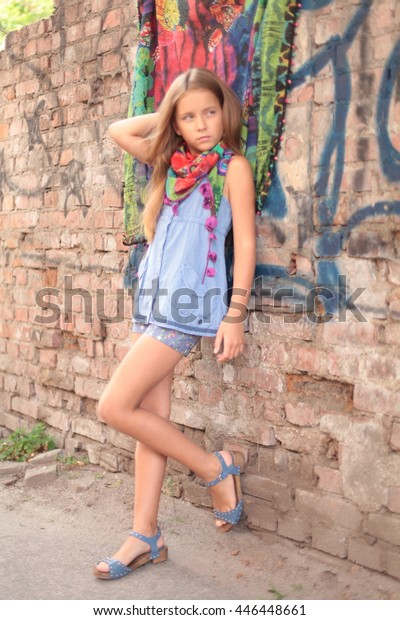 Very Pretty Young Girl Short Shorts Stock Photo Edit Now 446448661