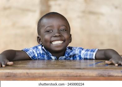 Very Proud Black African Boy Posing Under The Sun