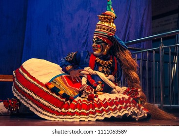 A very rare kathakali dress worn by a talented artist during a performance on 15th July 2017 in Bengaluru,India