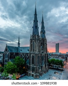 Very rare view of the Saint Catherina Church in Eindhoven, Netherlands located on the Catherinaplein at the end of Stratumseind. The Church is built in Gothic Revival style.