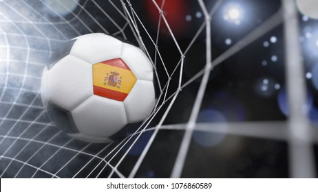 Very realistic rendering of a soccer ball with the flag of Spain in the net.(3D rendering)