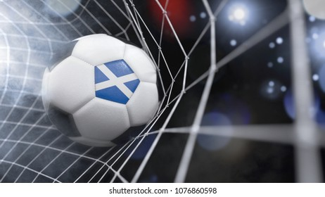 Very realistic rendering of a soccer ball with the flag of Scotland in the net.(3D rendering)