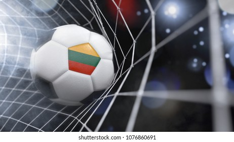 Very realistic rendering of a soccer ball with the flag of Lithuania in the net.(3D rendering)