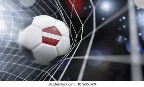 Very realistic rendering of a soccer ball with the flag of Latvia in the net.(3D rendering)