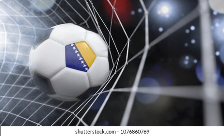 Very realistic rendering of a soccer ball with the flag of Bosnia and Herzegovina in the net.(3D rendering)