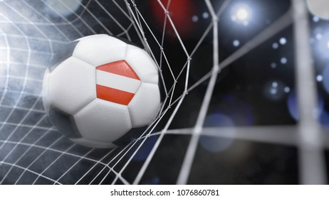 Very realistic rendering of a soccer ball with the flag of Austria in the net.(3D rendering)