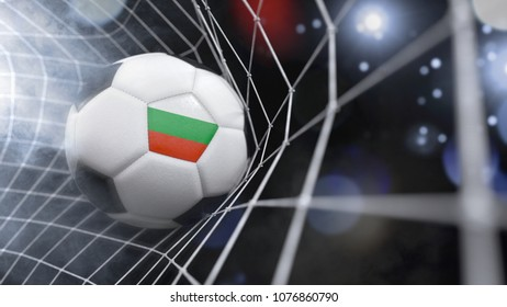 Very realistic rendering of a soccer ball with the flag of Bulgaria in the net.(3D rendering)
