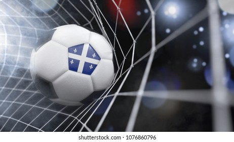 Very realistic rendering of a soccer ball with the flag of Quebec in the net.(3D rendering)
