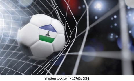 Very realistic rendering of a soccer ball with the flag of Lesotho in the net.(3D rendering)
