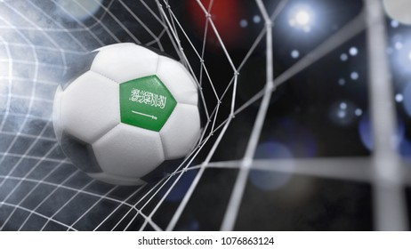 Very realistic rendering of a soccer ball with the flag of Saudi Arabia in the net.(3D rendering)