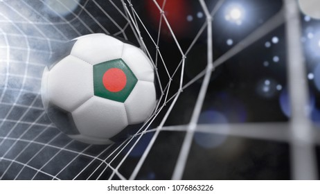 Very realistic rendering of a soccer ball with the flag of Bangladesh in the net.(3D rendering)