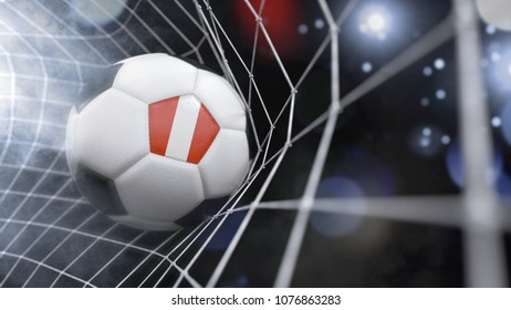 Very realistic rendering of a soccer ball with the flag of Peru in the net.(3D rendering)