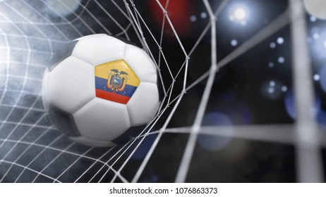 Very realistic rendering of a soccer ball with the flag of Ecuador in the net.(3D rendering)