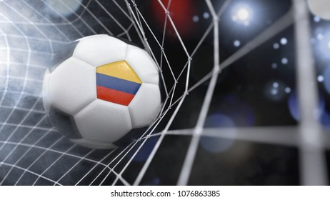 Very realistic rendering of a soccer ball with the flag of Colombia in the net.(3D rendering)