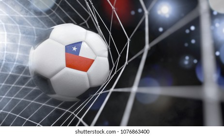Very realistic rendering of a soccer ball with the flag of Chile in the net.(3D rendering)