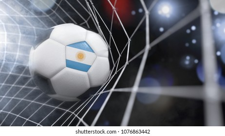 Very realistic rendering of a soccer ball with the flag of Argentina in the net.(3D rendering)