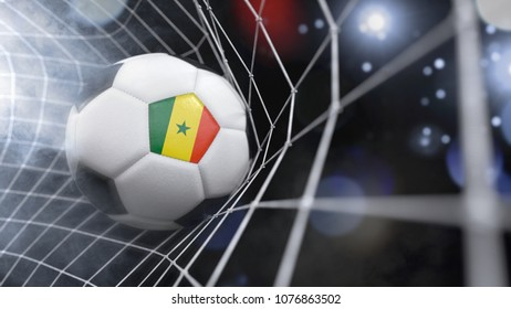 Very realistic rendering of a soccer ball with the flag of Senegal in the net.(3D rendering)