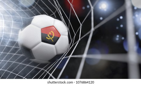 Very realistic rendering of a soccer ball with the flag of Angola in the net.(3D rendering)