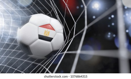 Very realistic rendering of a soccer ball with the flag of Egypt in the net.(3D rendering)