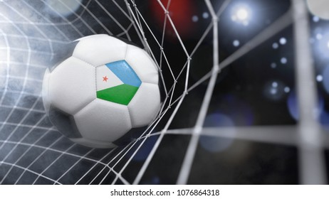Very realistic rendering of a soccer ball with the flag of Djibouti in the net.(3D rendering)